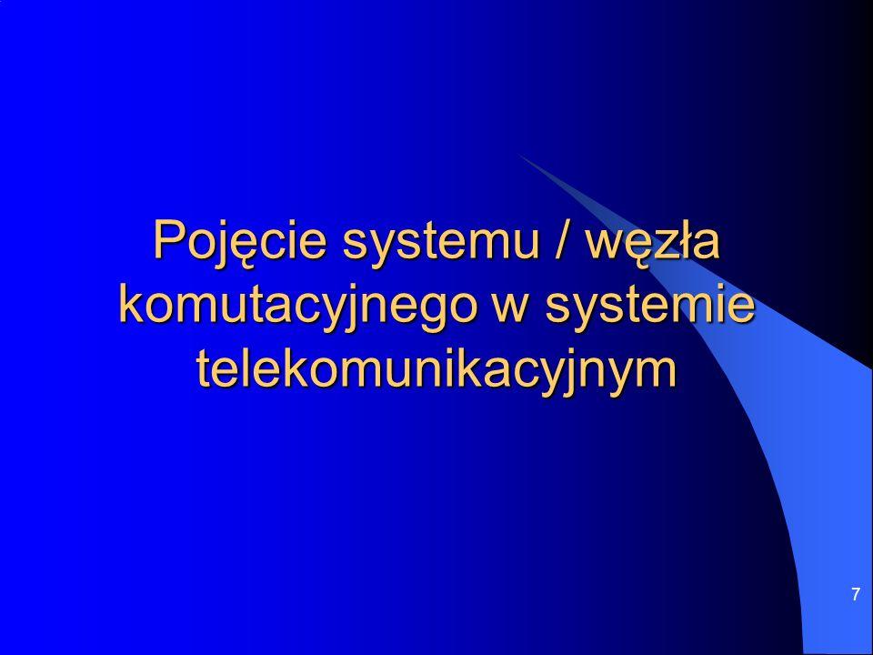 """18 Przykłady systemów / sieci telekomunikacyjnych System z jednym wspólnym węzłem komutacyjnym – liczba łączy: n Połączenia wg zasady """"każdy z każdym - liczba łączy: n(n-1)/2"""