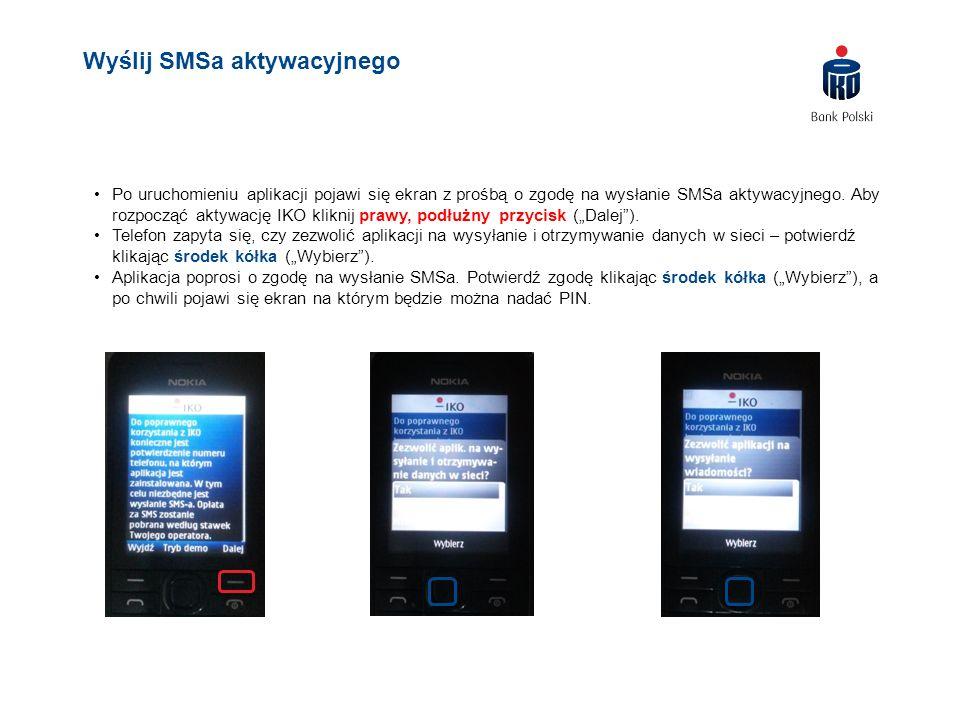 Po uruchomieniu aplikacji pojawi się ekran z prośbą o zgodę na wysłanie SMSa aktywacyjnego. Aby rozpocząć aktywację IKO kliknij prawy, podłużny przyci