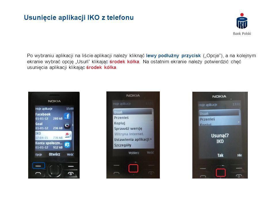 """Po wybraniu aplikacji na liście aplikacji należy kliknąć lewy podłużny przycisk (""""Opcje""""), a na kolejnym ekranie wybrać opcję """"Usuń"""" klikając środek k"""