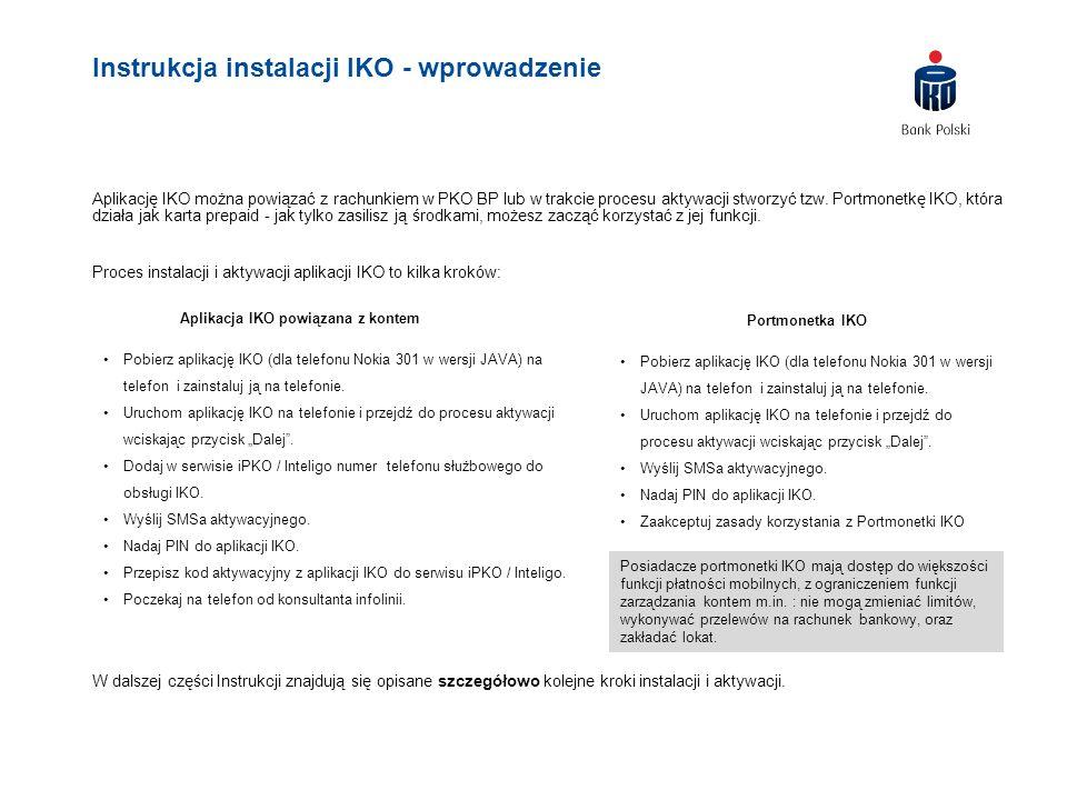 Instrukcja instalacji IKO - wprowadzenie Aplikację IKO można powiązać z rachunkiem w PKO BP lub w trakcie procesu aktywacji stworzyć tzw. Portmonetkę