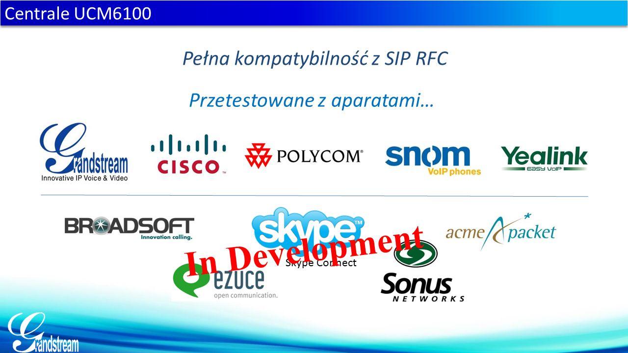 Pełna kompatybilność z SIP RFC Przetestowane z aparatami… Skype Connect In Development Centrale UCM6100