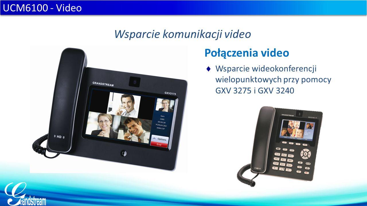  Wsparcie wideokonferencji wielopunktowych przy pomocy GXV 3275 i GXV 3240 UCM6100 - Video Wsparcie komunikacji video Połączenia video