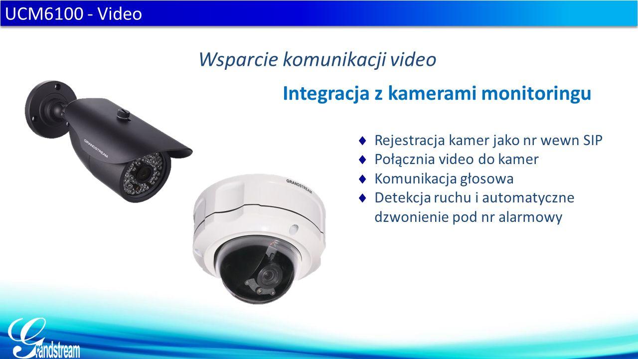  Rejestracja kamer jako nr wewn SIP  Połącznia video do kamer  Komunikacja głosowa  Detekcja ruchu i automatyczne dzwonienie pod nr alarmowy UCM6100 - Video Wsparcie komunikacji video Integracja z kamerami monitoringu