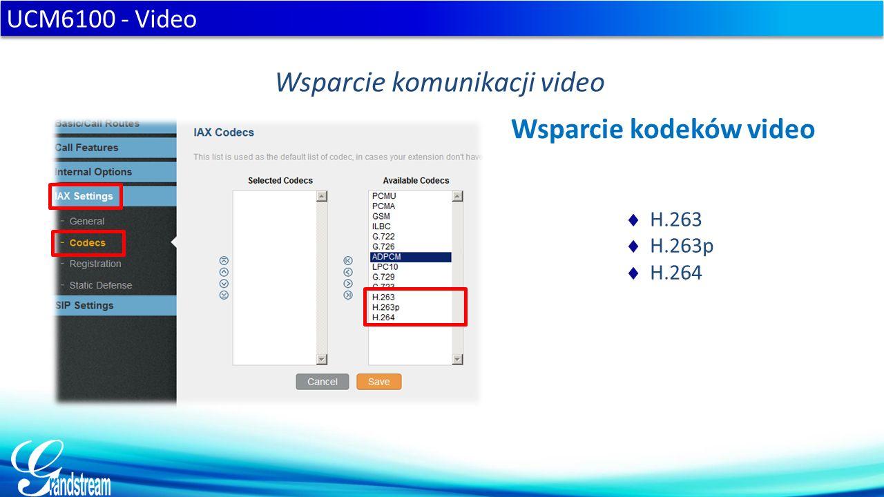  H.263  H.263p  H.264 UCM6100 - Video Wsparcie komunikacji video Wsparcie kodeków video