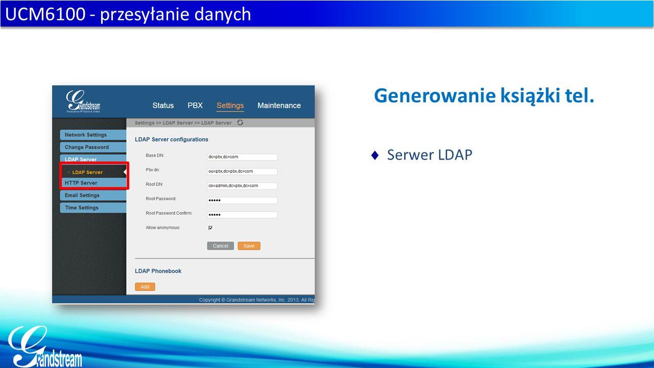 UCM6100 - przesyłanie danych Generowanie książki tel.  Serwer LDAP