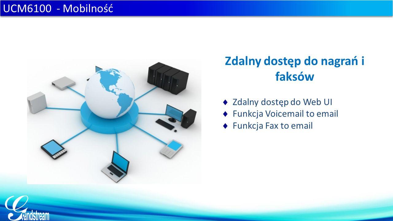 UCM6100 - Mobilność Zdalny dostęp do nagrań i faksów  Zdalny dostęp do Web UI  Funkcja Voicemail to email  Funkcja Fax to email