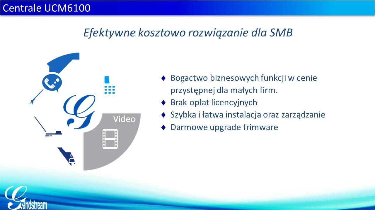  do 500 numerów wewnętrzych  porty FXO i jednoczesnych połączeń: 2 - 30 (UCM6102) 4 - 45 (UCM6104) 8 - 60 (UCM6108) 16 - 60 (UCM6116)  Port Gigabit z PoE  Mostek konferencyjny na: 25 (UCM6102 & UCM6104) 32 (UCM6108 & UCM6116) uczestników  Automatyczna konfiguracja telefonów Grandstream  Prosty interfejs zarządzania.