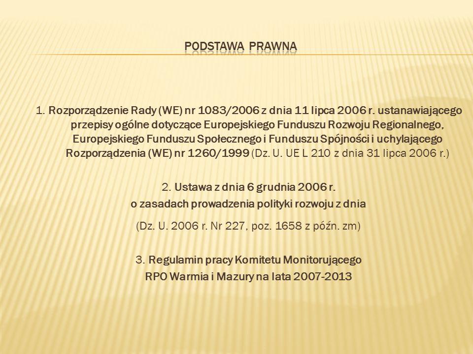 1. Rozporządzenie Rady (WE) nr 1083/2006 z dnia 11 lipca 2006 r. ustanawiającego przepisy ogólne dotyczące Europejskiego Funduszu Rozwoju Regionalnego