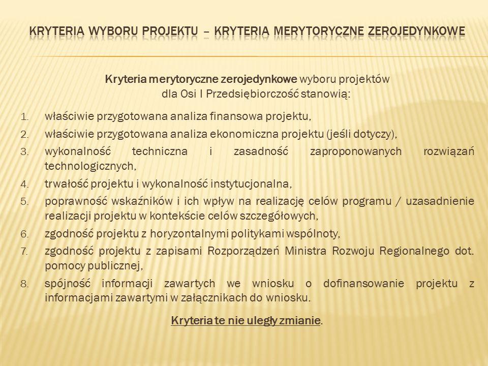 Kryteria merytoryczne zerojedynkowe wyboru projektów dla Osi I Przedsiębiorczość stanowią: 1. właściwie przygotowana analiza finansowa projektu, 2. wł