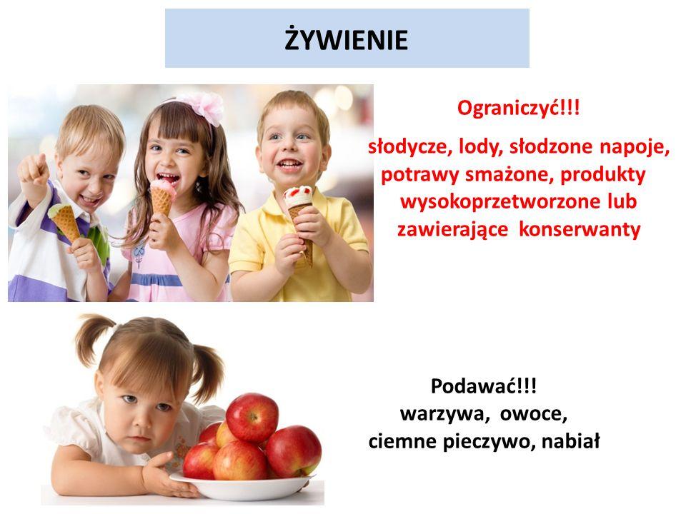 ŻYWIENIE Podawać!!. warzywa, owoce, ciemne pieczywo, nabiał Ograniczyć!!.
