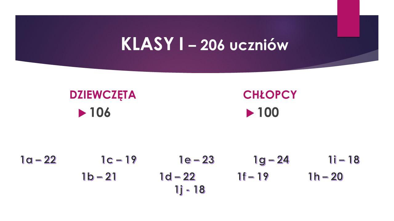 DZIEWCZĘTA  106 CHŁOPCY  100 KLASY I – 206 uczniów