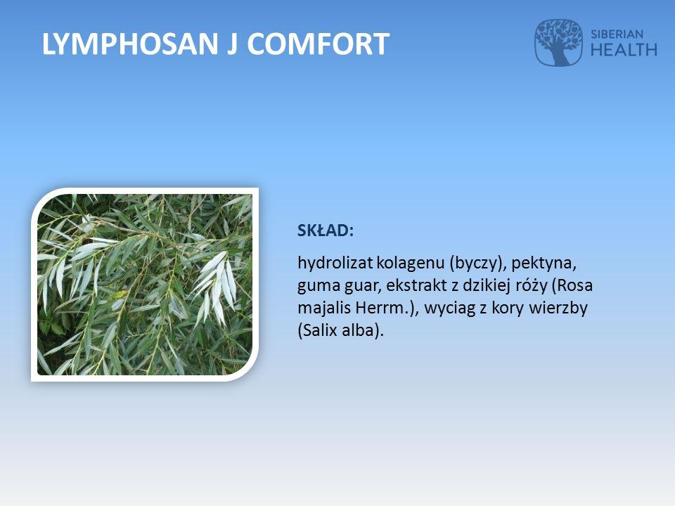 SKŁAD: hydrolizat kolagenu (byczy), pektyna, guma guar, ekstrakt z dzikiej róży (Rosa majalis Herrm.), wyciag z kory wierzby (Salix alba). LYMPHOSAN J