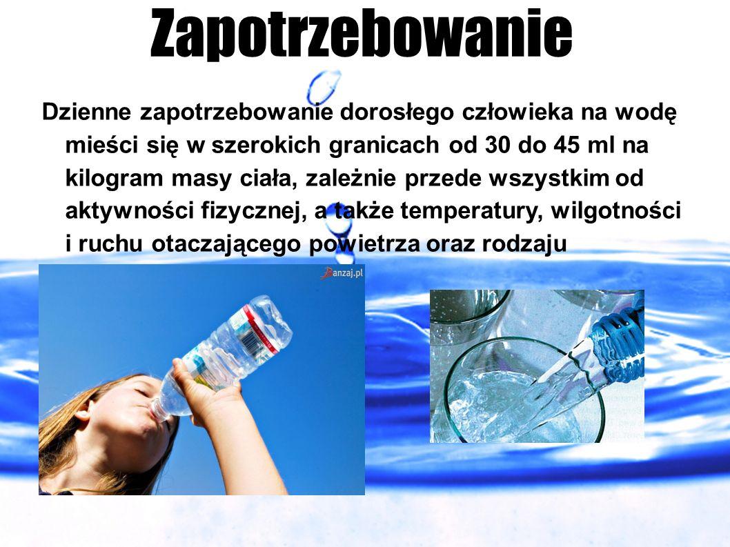Zapotrzebowanie Dzienne zapotrzebowanie dorosłego człowieka na wodę mieści się w szerokich granicach od 30 do 45 ml na kilogram masy ciała, zależnie p