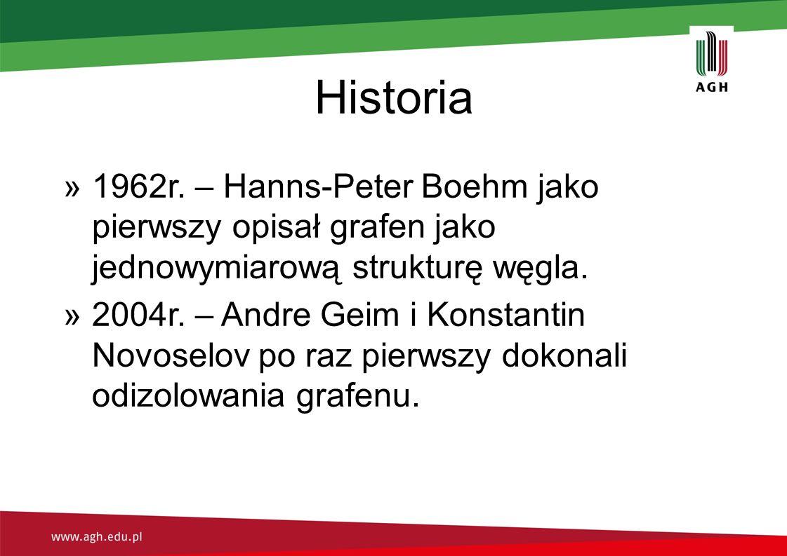Historia »1962r. – Hanns-Peter Boehm jako pierwszy opisał grafen jako jednowymiarową strukturę węgla. »2004r. – Andre Geim i Konstantin Novoselov po r