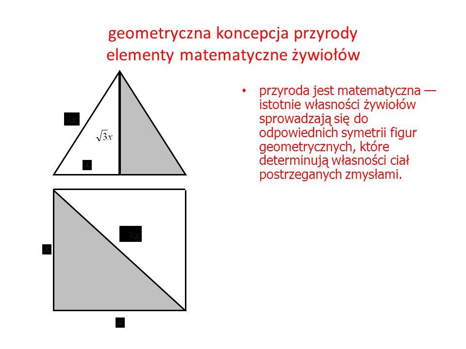 geometryczna koncepcja przyrody elementy matematyczne żywiołów przyroda jest matematyczna — istotnie własności żywiołów sprowadzają się do odpowiednich symetrii figur geometrycznych, które determinują własności ciał postrzeganych zmysłami.