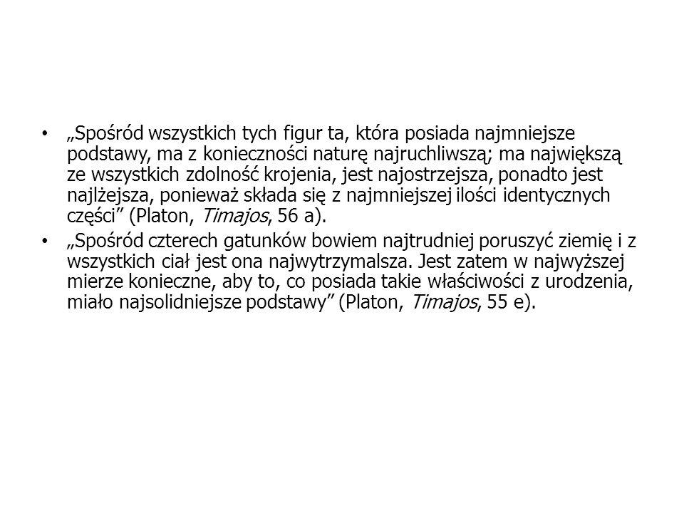 """""""Spośród wszystkich tych figur ta, która posiada najmniejsze podstawy, ma z konieczności naturę najruchliwszą; ma największą ze wszystkich zdolność krojenia, jest najostrzejsza, ponadto jest najlżejsza, ponieważ składa się z najmniejszej ilości identycznych części (Platon, Timajos, 56 a)."""