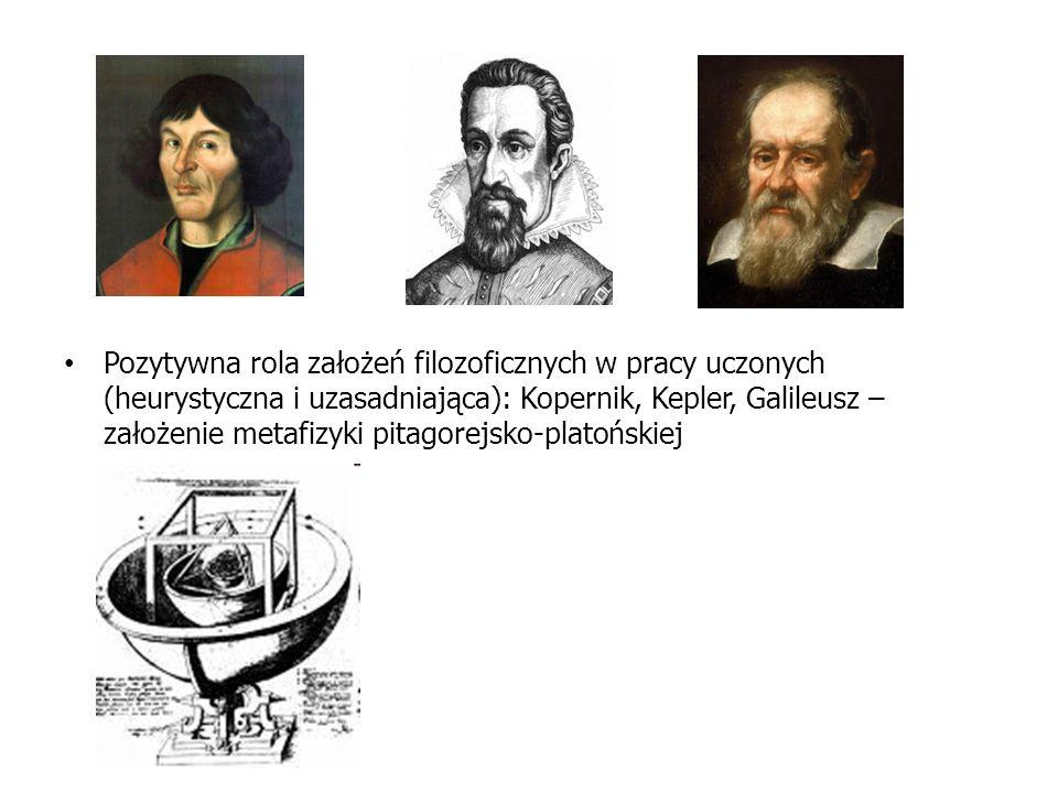 Pozytywna rola założeń filozoficznych w pracy uczonych (heurystyczna i uzasadniająca): Kopernik, Kepler, Galileusz – założenie metafizyki pitagorejsko-platońskiej