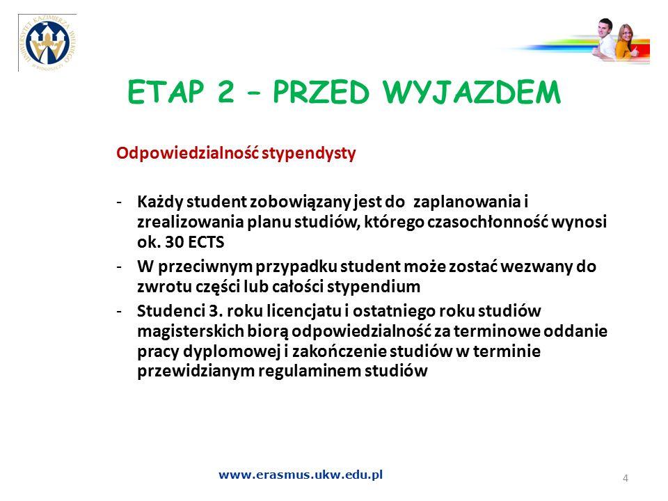 ETAP 2 – PRZED WYJAZDEM Odpowiedzialność stypendysty -Każdy student zobowiązany jest do zaplanowania i zrealizowania planu studiów, którego czasochłon