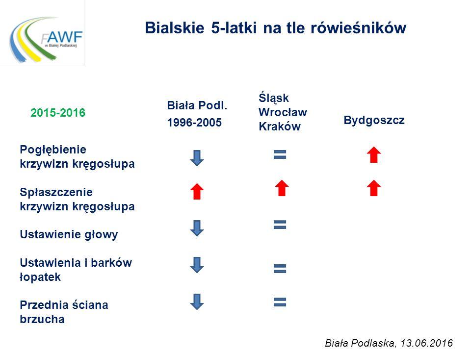 Bialskie 5-latki na tle rówieśników Biała Podl. 1996-2005 Pogłębienie krzywizn kręgosłupa Spłaszczenie krzywizn kręgosłupa Ustawienie głowy Ustawienia