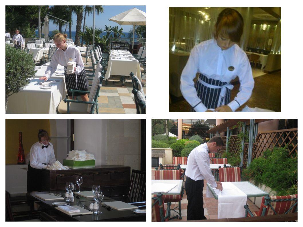 CZYNNOŚCI WYKONYWANE W CZASIE PRACY W RESTAURACJI OBEJMOWAŁY MIĘDZY INNYMI: - nakrywanie do śniadań, obiadów i kolacji - przygotowywanie bufetu szwedzkiego, - polerowanie sztućców oraz zastawy szklanej - dekorowanie potraw i deserów na talerzach - sprzątanie restauracji i barów - serwowanie zimnych i ciepłych napojów - przygotowywania sali konsumenckiej na różne imprezy grupowe - obsługa sali konsumenckiej podczas posiłków- - dobieranie bielizny stołowej, zastawy i sztućców - zbieranie naczyń po konsumpcji - obsługiwanie konsumentów z wykorzystaniem różnych form i technik - przygotowanie imprezy integracyjnej