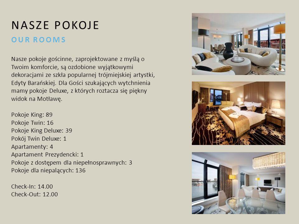 NASZE POKOJE OUR ROOMS Nasze pokoje gościnne, zaprojektowane z myślą o Twoim komforcie, są ozdobione wyjątkowymi dekoracjami ze szkła popularnej trójmiejskiej artystki, Edyty Barańskiej.
