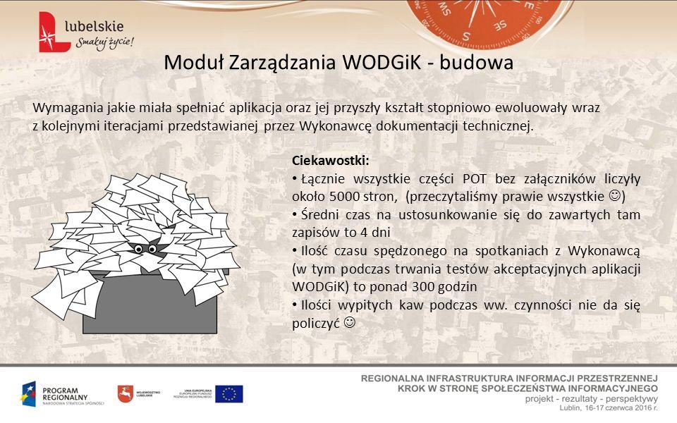 Moduł Zarządzania WODGiK - budowa Wymagania jakie miała spełniać aplikacja oraz jej przyszły kształt stopniowo ewoluowały wraz z kolejnymi iteracjami przedstawianej przez Wykonawcę dokumentacji technicznej.