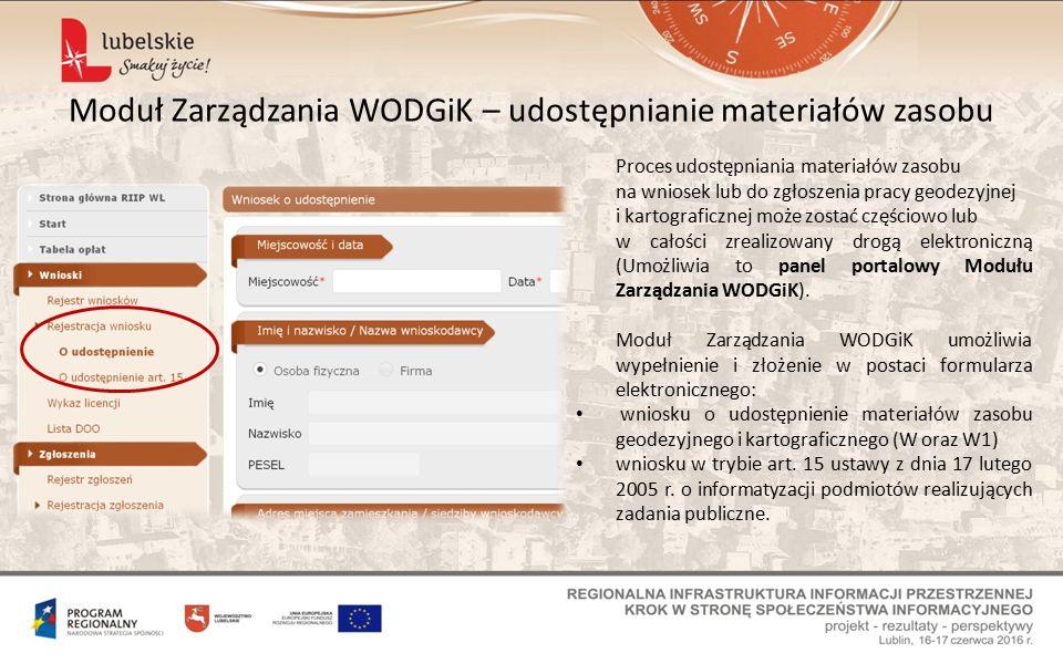 Moduł Zarządzania WODGiK – udostępnianie materiałów zasobu Proces udostępniania materiałów zasobu na wniosek lub do zgłoszenia pracy geodezyjnej i kartograficznej może zostać częściowo lub w całości zrealizowany drogą elektroniczną (Umożliwia to panel portalowy Modułu Zarządzania WODGiK).