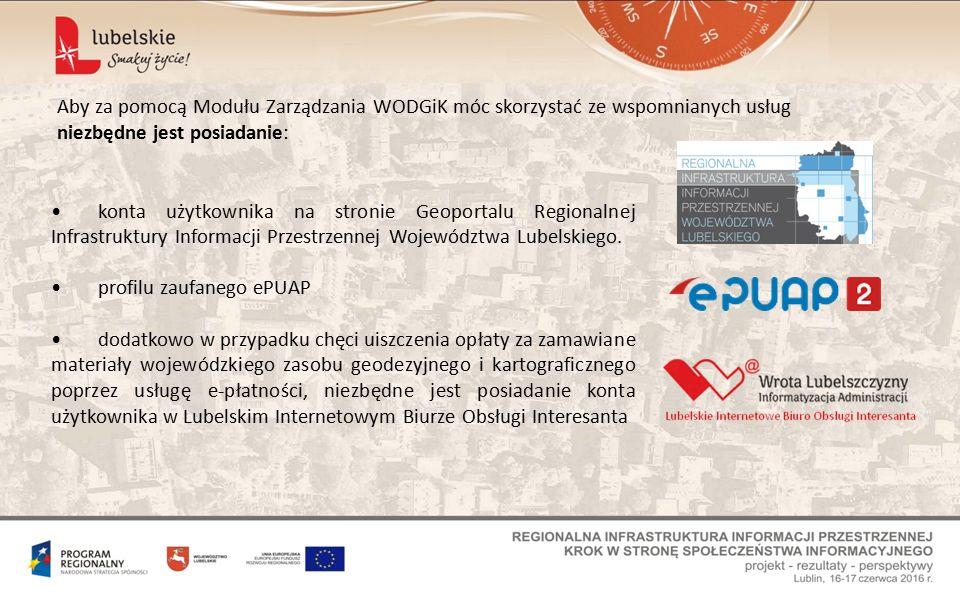 konta użytkownika na stronie Geoportalu Regionalnej Infrastruktury Informacji Przestrzennej Województwa Lubelskiego.