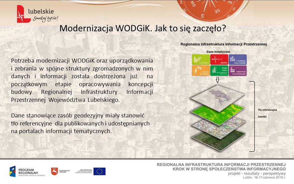 Moduł Zarządzania WODGiK – koncepcja, zadania Obsługa interesanta oraz komunikacja związana z udostępnianiem zasobu miała zostać przeniesiona w części lub w całości do poziomu obsługi internetowej.