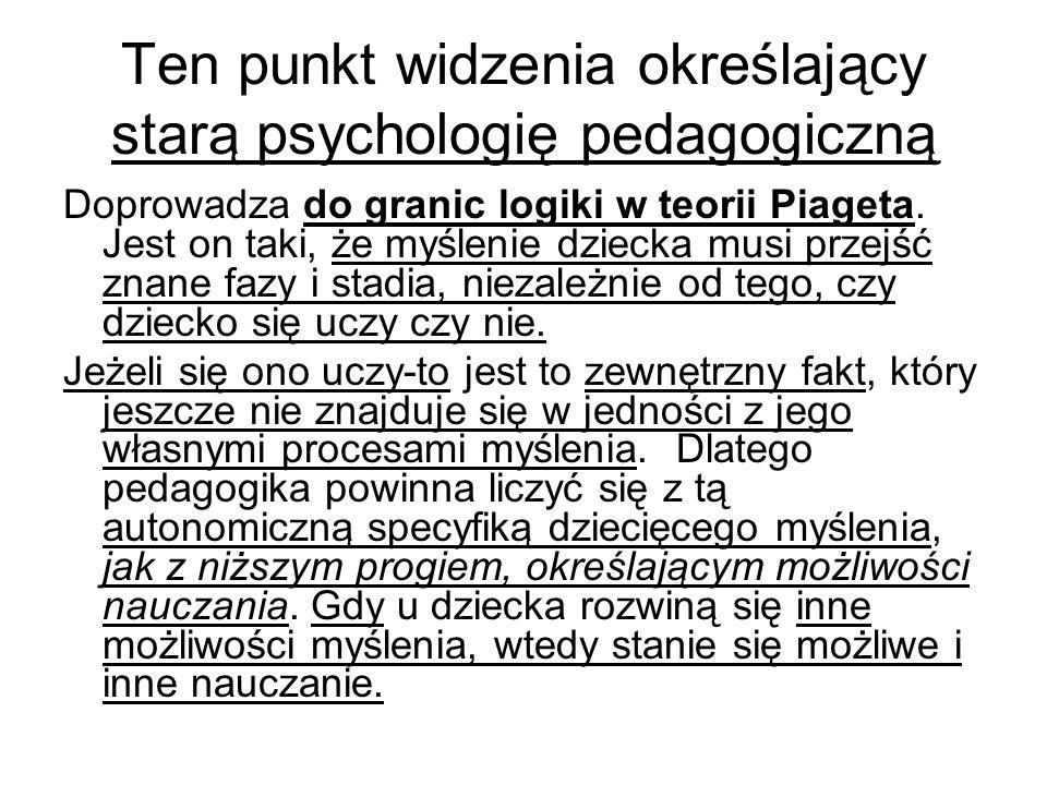 Ten punkt widzenia określający starą psychologię pedagogiczną Doprowadza do granic logiki w teorii Piageta.