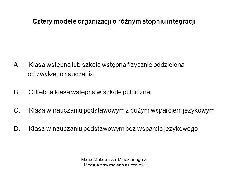 Maria Małaśnicka-Miedzianogóra Modele przyjmowania uczniów Cztery modele organizacji o różnym stopniu integracji A.Klasa wstępna lub szkoła wstępna fizycznie oddzielona od zwykłego nauczania B.