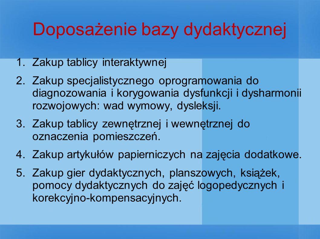 Doposażenie bazy dydaktycznej 1.Zakup tablicy interaktywnej 2.Zakup specjalistycznego oprogramowania do diagnozowania i korygowania dysfunkcji i dysharmonii rozwojowych: wad wymowy, dysleksji.