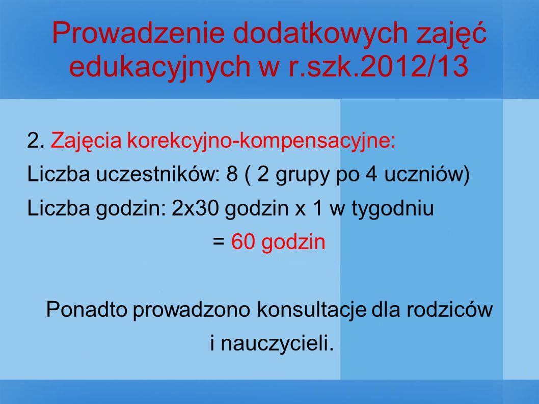 Prowadzenie dodatkowych zajęć edukacyjnych w r.szk.2012/13 2.