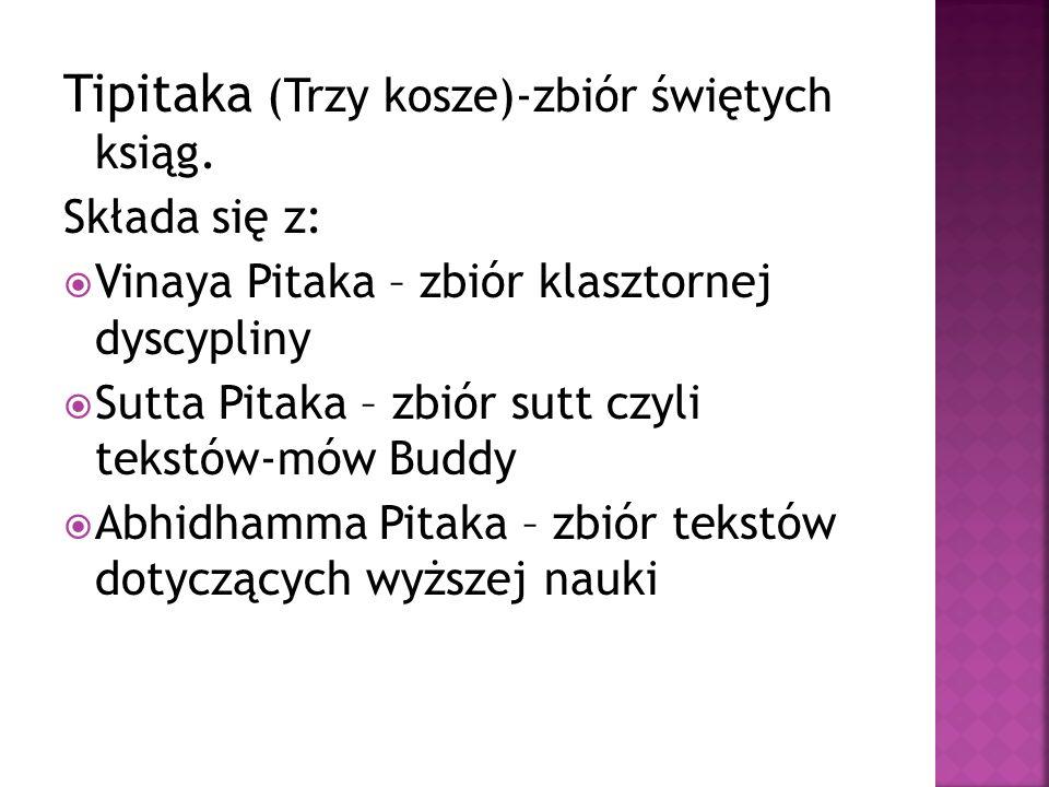 Tipitaka (Trzy kosze)-zbiór świętych ksiąg. Składa się z:  Vinaya Pitaka – zbiór klasztornej dyscypliny  Sutta Pitaka – zbiór sutt czyli tekstów-mów
