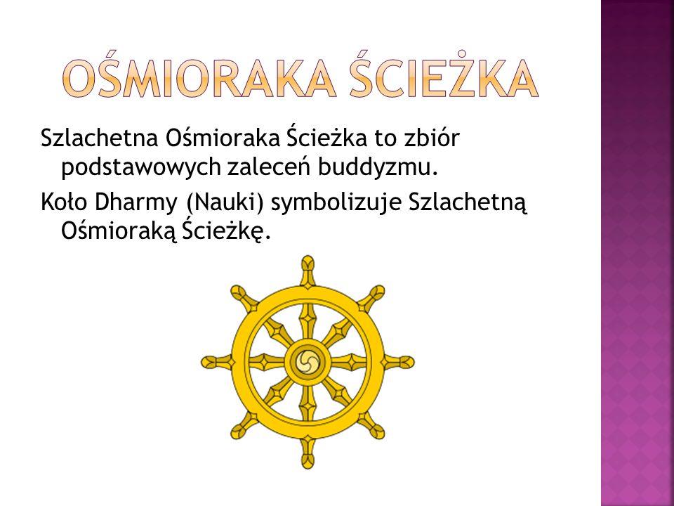 Szlachetna Ośmioraka Ścieżka to zbiór podstawowych zaleceń buddyzmu. Koło Dharmy (Nauki) symbolizuje Szlachetną Ośmioraką Ścieżkę.