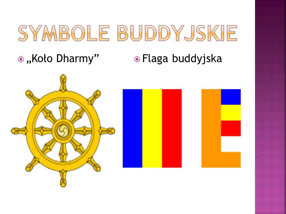 " ""Koło Dharmy  Flaga buddyjska"