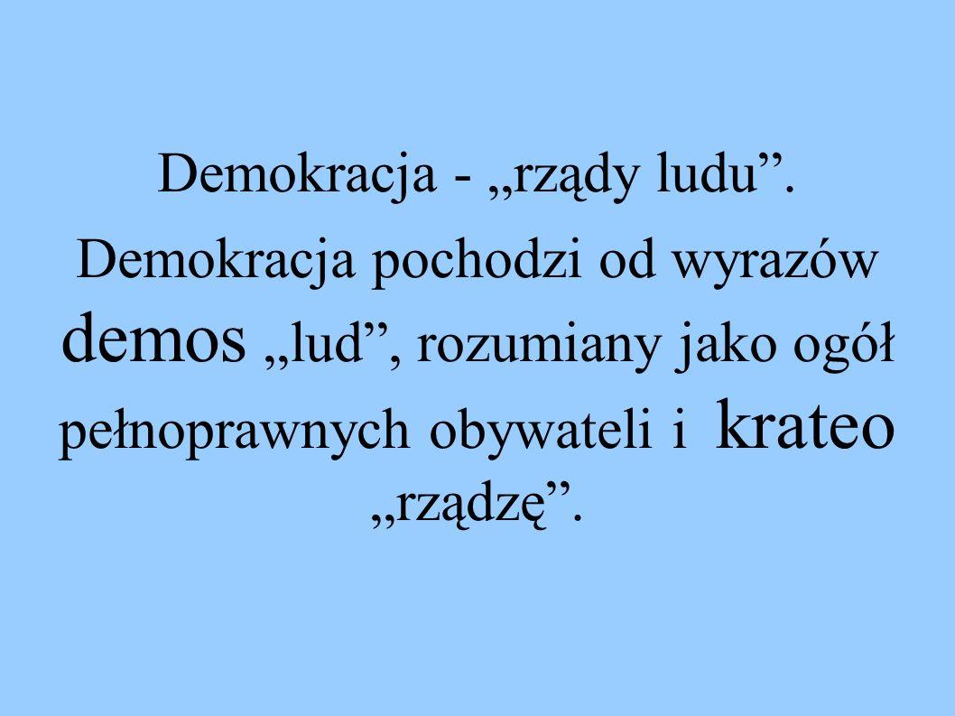"""Demokracja - """"rządy ludu ."""