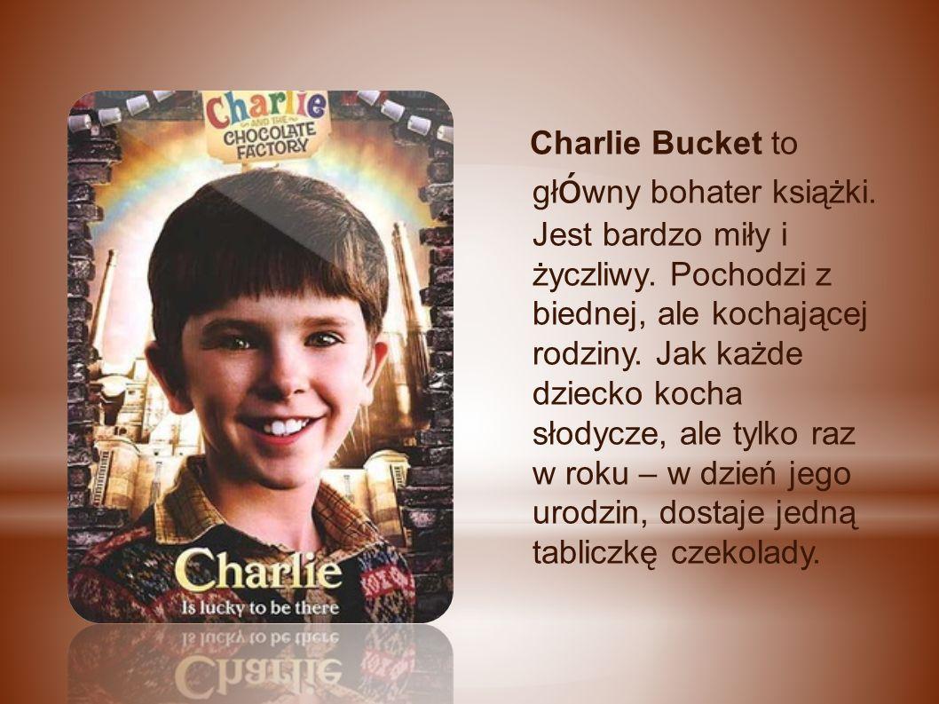 Charlie Bucket to gł ó wny bohater książki. Jest bardzo miły i życzliwy.