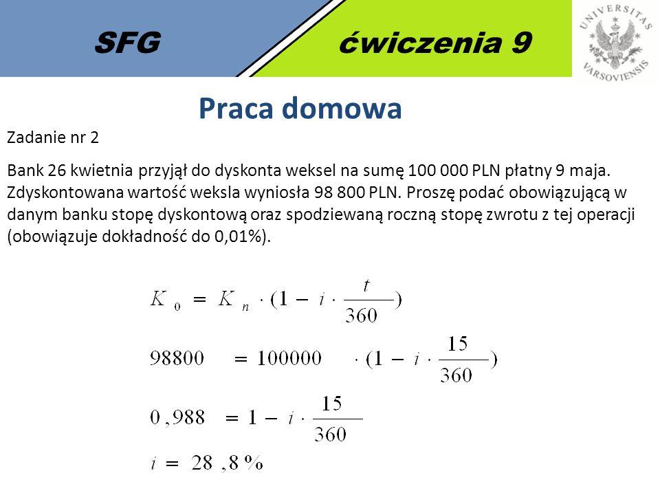 SFGćwiczenia 9 Praca domowa Zadanie nr 2 Bank 26 kwietnia przyjął do dyskonta weksel na sumę 100 000 PLN płatny 9 maja.