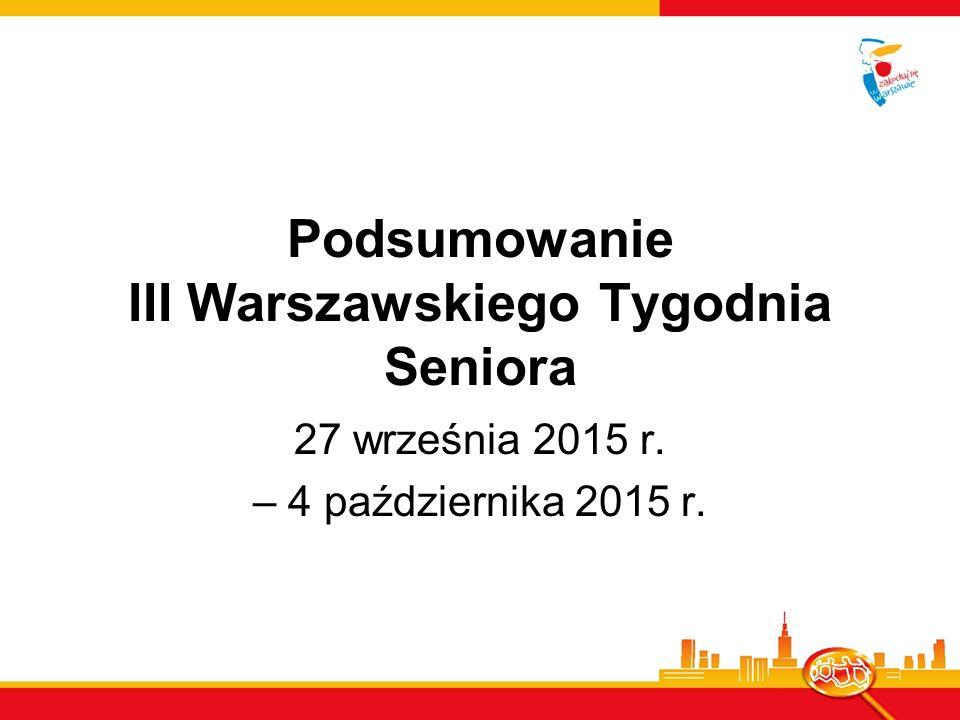 Warszawski Tydzień Seniora Organizowany jest co roku na przełomie września i października z okazji Międzynarodowego Dnia Osób Starszych.