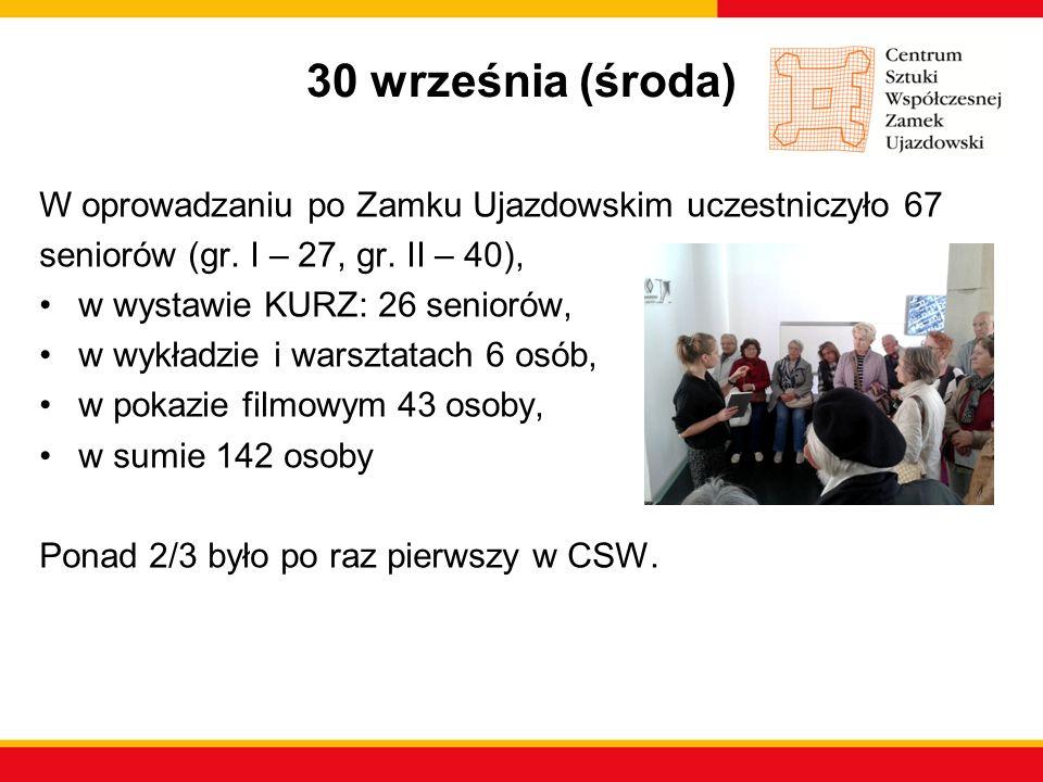 30 września (środa) W oprowadzaniu po Zamku Ujazdowskim uczestniczyło 67 seniorów (gr. I – 27, gr. II – 40), w wystawie KURZ: 26 seniorów, w wykładzie