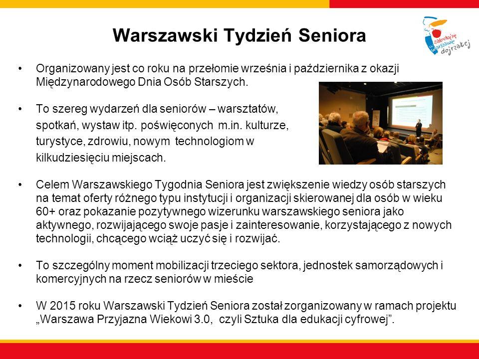Warszawski Tydzień Seniora Organizowany jest co roku na przełomie września i października z okazji Międzynarodowego Dnia Osób Starszych. To szereg wyd