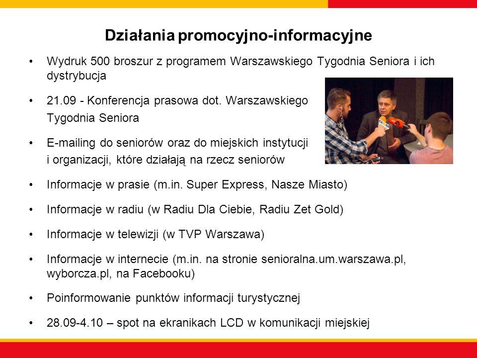 Działania promocyjno-informacyjne Wydruk 500 broszur z programem Warszawskiego Tygodnia Seniora i ich dystrybucja 21.09 - Konferencja prasowa dot. War