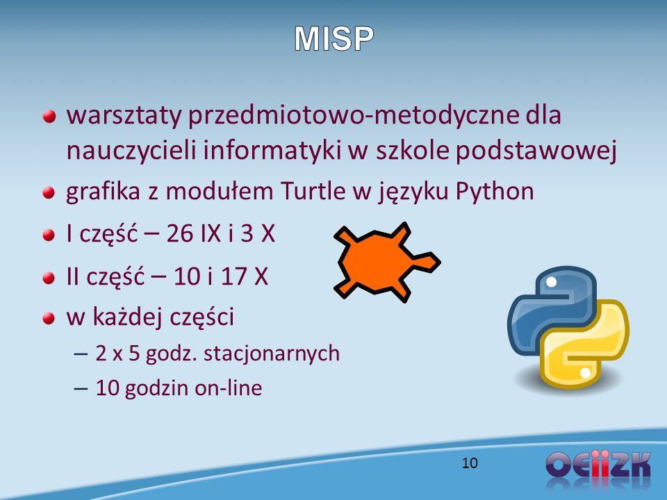 warsztaty przedmiotowo-metodyczne dla nauczycieli informatyki w szkole podstawowej grafika z modułem Turtle w języku Python I część – 26 IX i 3 X II c