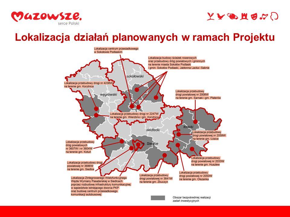 Lokalizacja działań planowanych w ramach Projektu