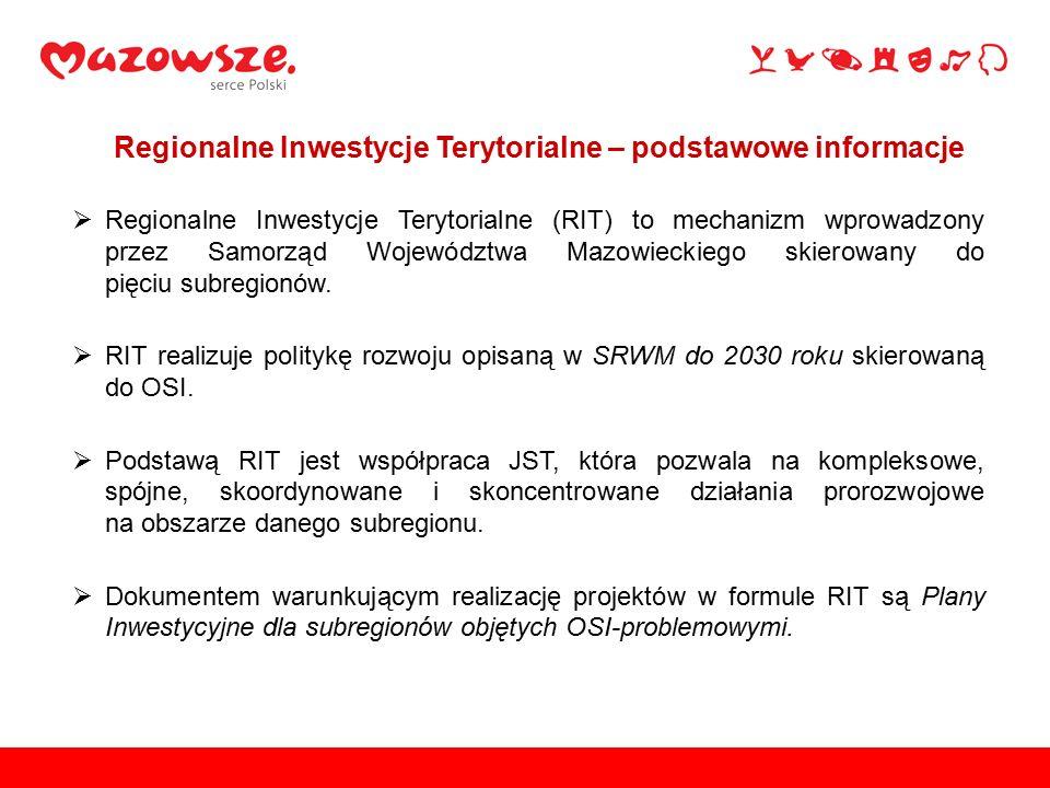  Regionalne Inwestycje Terytorialne (RIT) to mechanizm wprowadzony przez Samorząd Województwa Mazowieckiego skierowany do pięciu subregionów.