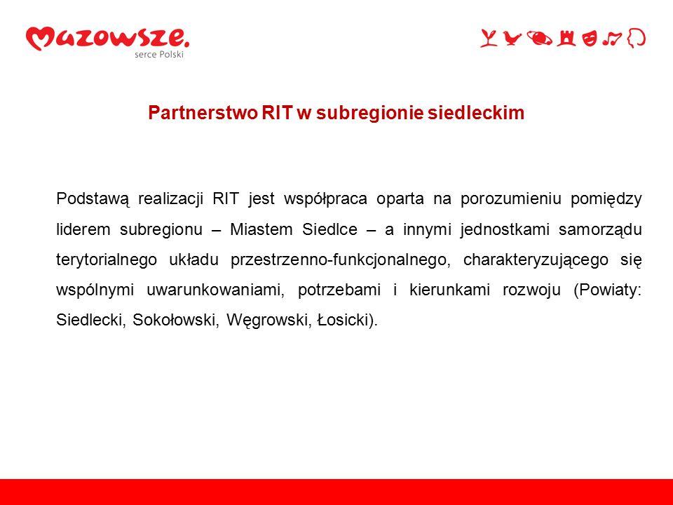 Podstawą realizacji RIT jest współpraca oparta na porozumieniu pomiędzy liderem subregionu – Miastem Siedlce – a innymi jednostkami samorządu terytori