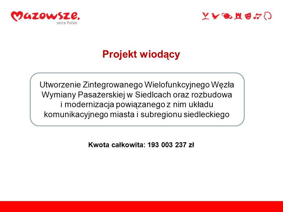 Projekt wiodący Utworzenie Zintegrowanego Wielofunkcyjnego Węzła Wymiany Pasażerskiej w Siedlcach oraz rozbudowa i modernizacja powiązanego z nim układu komunikacyjnego miasta i subregionu siedleckiego Kwota całkowita: 193 003 237 zł