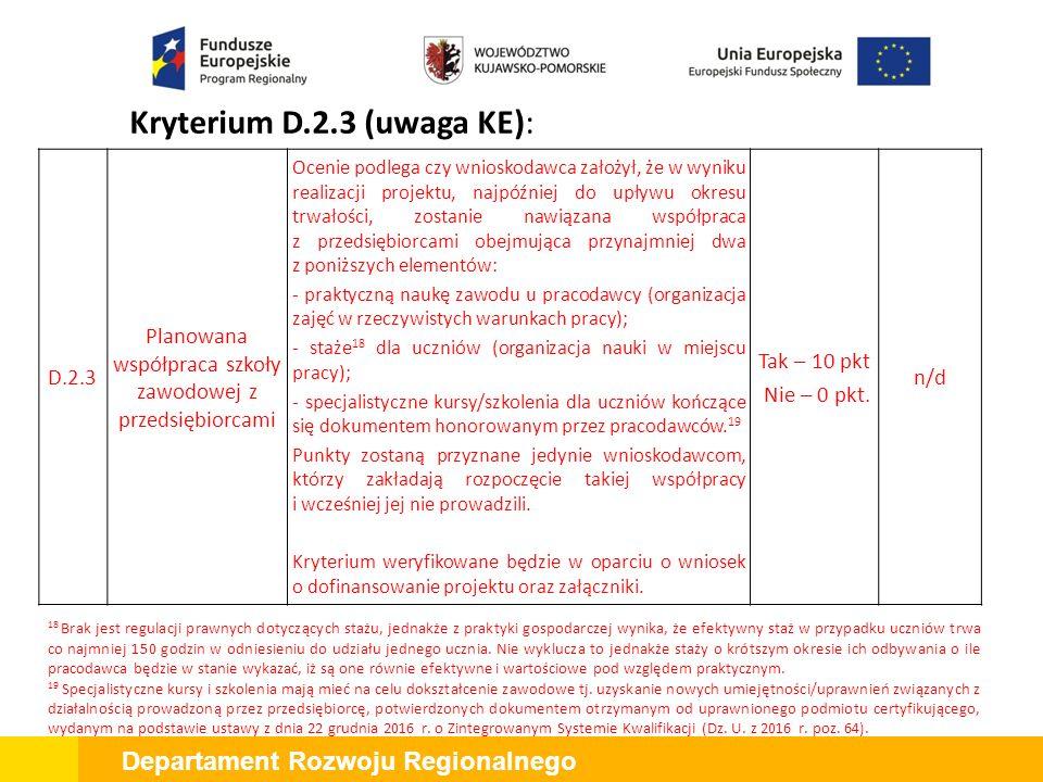 Departament Rozwoju Regionalnego Kryterium D.2.3 (uwaga KE): D.2.43 Projekt jest zgodny ze Strategią na rzecz rozwoju inteligentnych specjalizacji Ocenie podlega czy przedsięwzięcie planowane przez wnioskodawcę wpisuje się w inteligentne specjalizacje województwa kujawsko-pomorskiego.