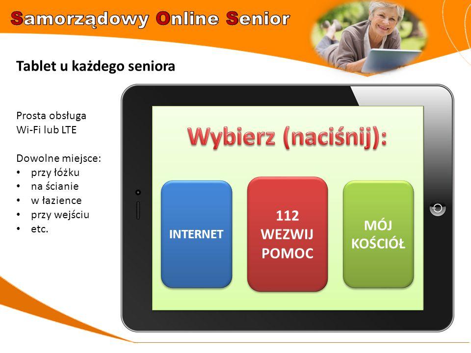 112 WEZWIJ POMOC 112 WEZWIJ POMOC INTERNET MÓJ KOŚCIÓŁ MÓJ KOŚCIÓŁ Tablet u każdego seniora Prosta obsługa Wi-Fi lub LTE Dowolne miejsce: przy łóżku n
